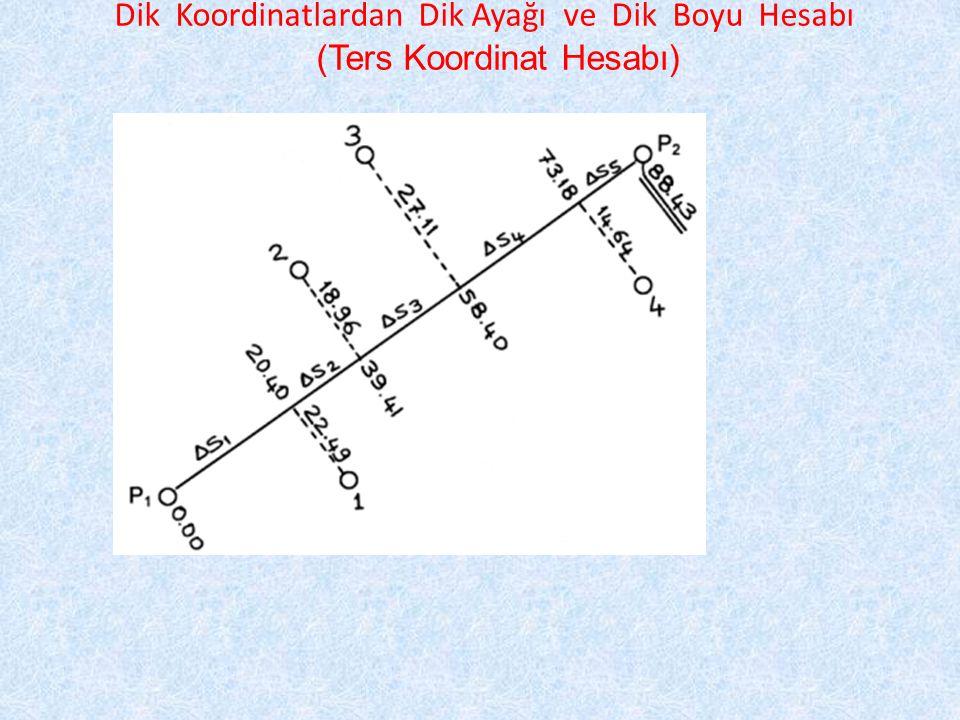 Dik Koordinatlardan Dik Ayağı ve Dik Boyu Hesabı (Ters Koordinat Hesabı)