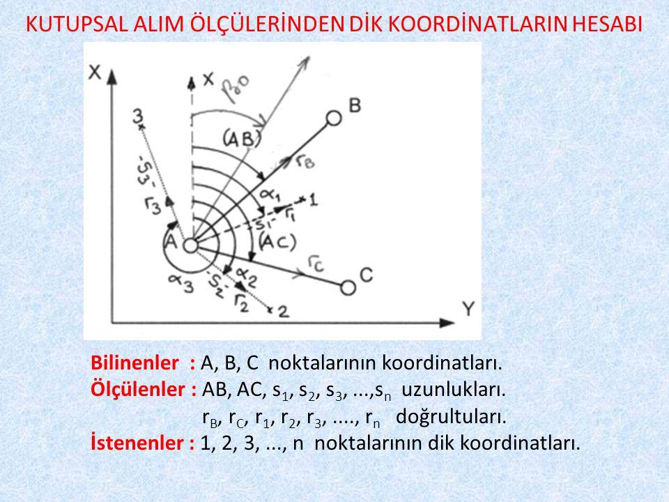 KUTUPSAL ALIM ÖLÇÜLERİNDEN DİK KOORDİNATLARIN HESABI Bilinenler : A, B, C noktalarının koordinatları.