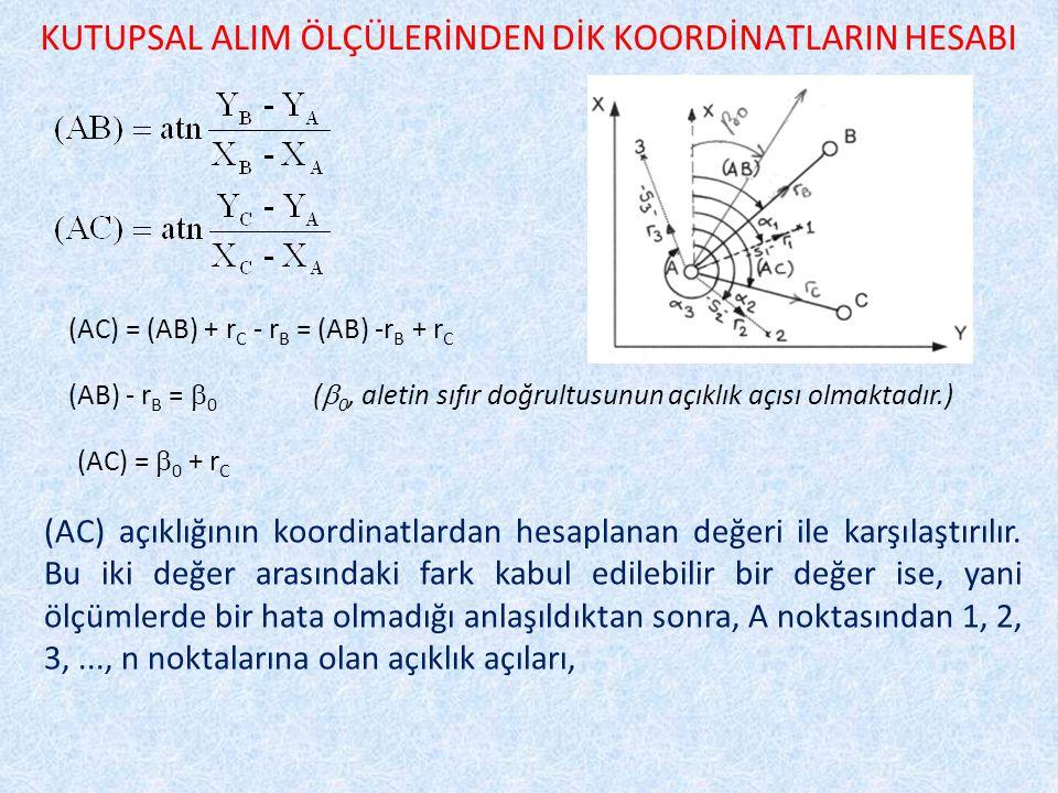 KUTUPSAL ALIM ÖLÇÜLERİNDEN DİK KOORDİNATLARIN HESABI (AC) = (AB) + r C - r B = (AB) -r B + r C (AB) - r B =  0 (  0, aletin sıfır doğrultusunun açıklık açısı olmaktadır.) (AC) =  0 + r C (AC) açıklığının koordinatlardan hesaplanan değeri ile karşılaştırılır.