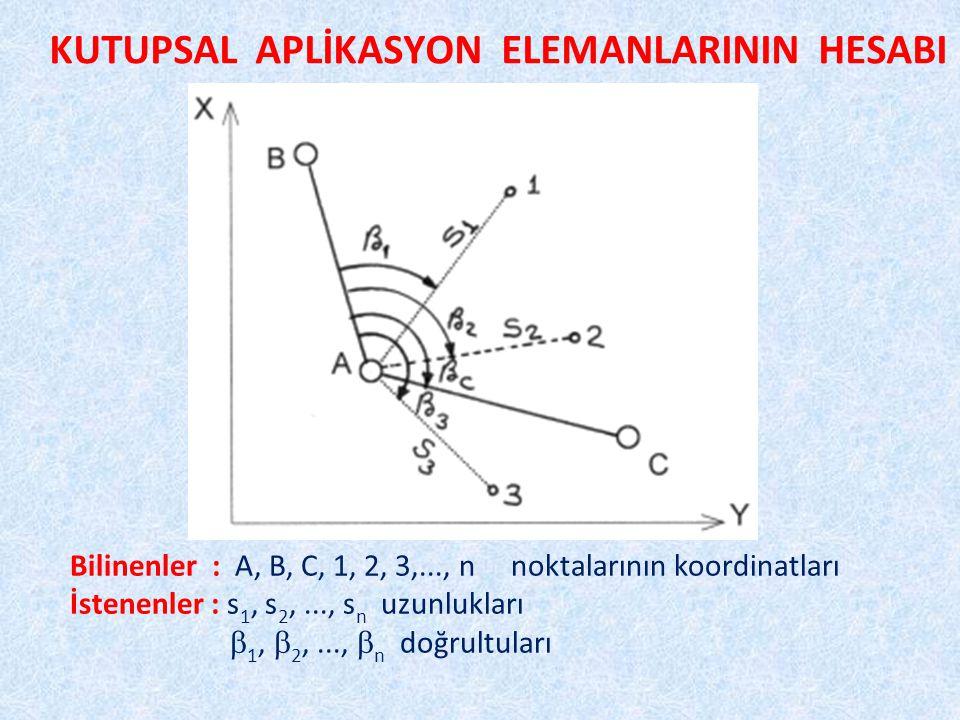 KUTUPSAL APLİKASYON ELEMANLARININ HESABI Bilinenler : A, B, C, 1, 2, 3,..., n noktalarının koordinatları İstenenler : s 1, s 2,..., s n uzunlukları  1,  2,...,  n doğrultuları
