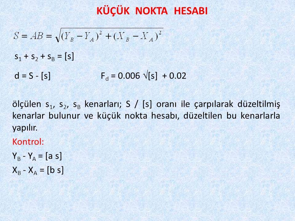 KÜÇÜK NOKTA HESABI d = S - [s]F d = 0.006  [s] + 0.02 ölçülen s 1, s 2, s B kenarları; S / [s] oranı ile çarpılarak düzeltilmiş kenarlar bulunur ve küçük nokta hesabı, düzeltilen bu kenarlarla yapılır.