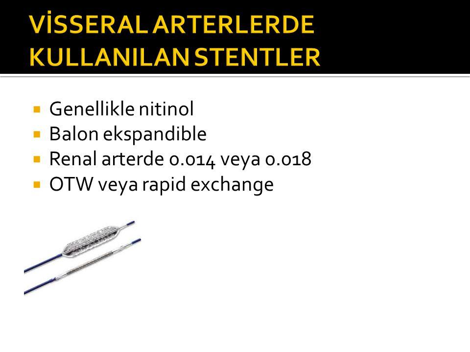  Genellikle nitinol  Balon ekspandible  Renal arterde 0.014 veya 0.018  OTW veya rapid exchange