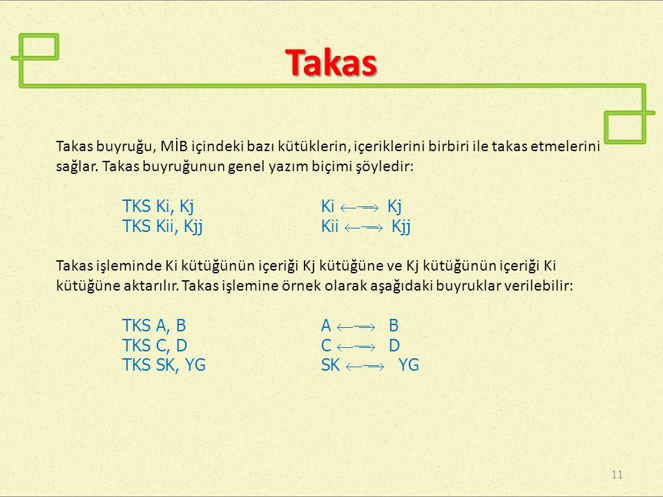 Takas 11 Takas buyruğu, MİB içindeki bazı kütüklerin, içeriklerini birbiri ile takas etmelerini sağlar. Takas buyruğunun genel yazım biçimi şöyledir: