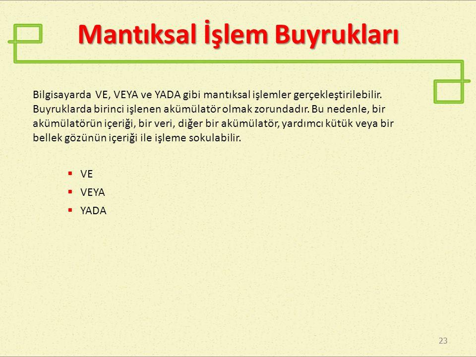 23 Mantıksal İşlem Buyrukları Bilgisayarda VE, VEYA ve YADA gibi mantıksal işlemler gerçekleştirilebilir.