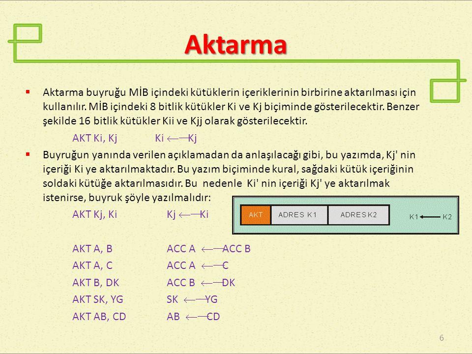 Aktarma 6  Aktarma buyruğu MİB içindeki kütüklerin içeriklerinin birbirine aktarılması için kullanılır. MİB içindeki 8 bitlik kütükler Ki ve Kj biçim