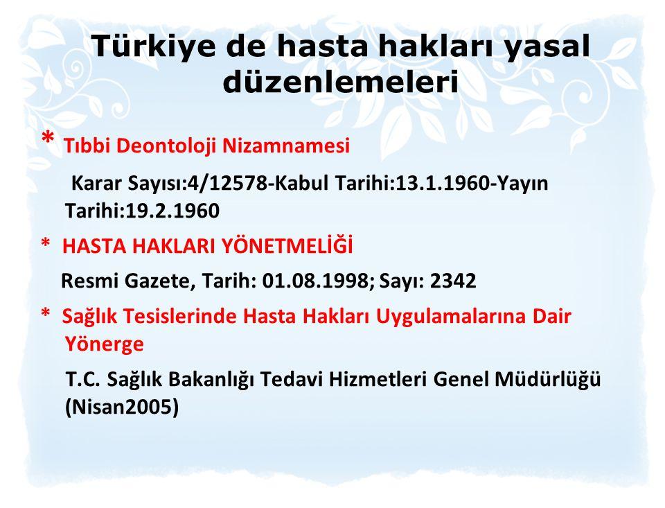 Türkiye de hasta hakları yasal düzenlemeleri * Tıbbi Deontoloji Nizamnamesi Karar Sayısı:4/12578-Kabul Tarihi:13.1.1960-Yayın Tarihi:19.2.1960 * HASTA