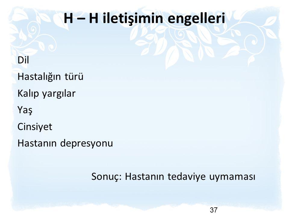 H – H iletişimin engelleri Dil Hastalığın türü Kalıp yargılar Yaş Cinsiyet Hastanın depresyonu Sonuç: Hastanın tedaviye uymaması 37