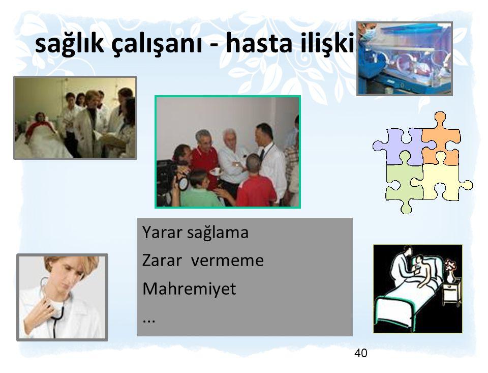sağlık çalışanı - hasta ilişkisi 40 Yarar sağlama Zarar vermeme Mahremiyet...