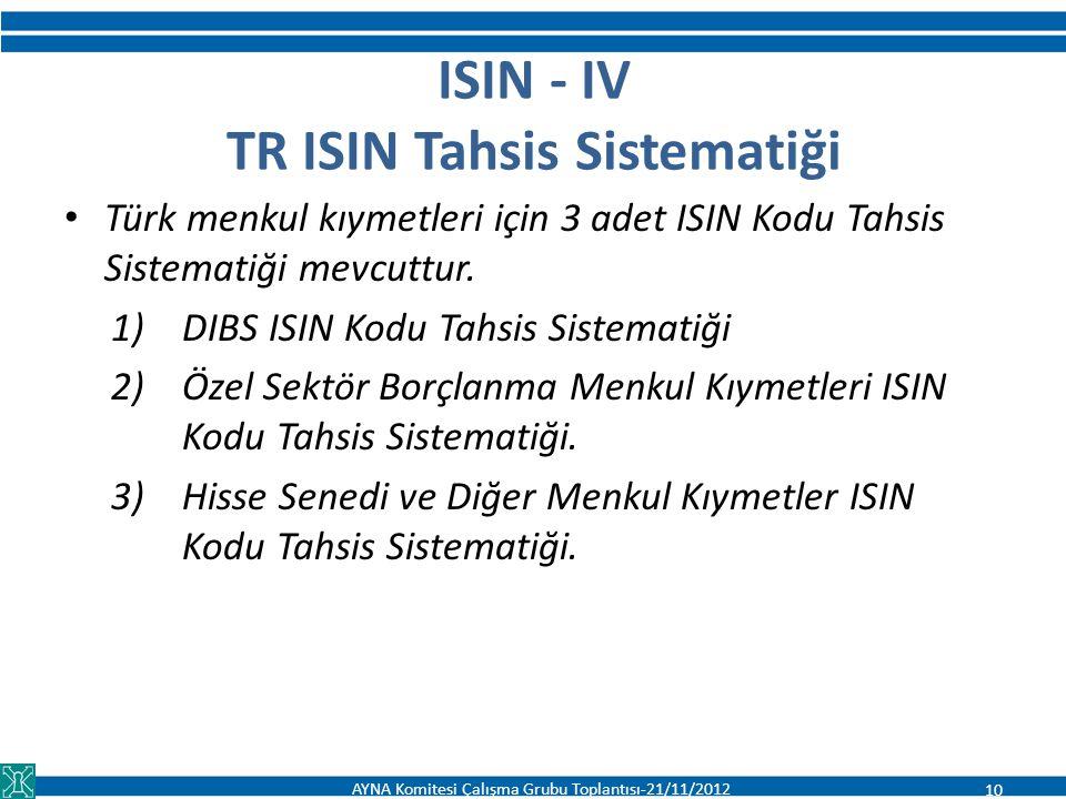 ISIN - IV TR ISIN Tahsis Sistematiği Türk menkul kıymetleri için 3 adet ISIN Kodu Tahsis Sistematiği mevcuttur. 1)DIBS ISIN Kodu Tahsis Sistematiği 2)