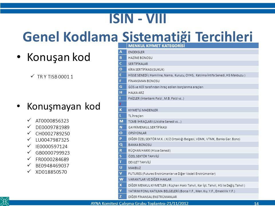 ISIN - VIII Genel Kodlama Sistematiği Tercihleri Konuşan kod TR Y TISB 0001 1 Konuşmayan kod AT0000856323 DE0009781989 CH0002789250 LU0047987325 IE000