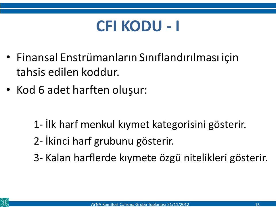 CFI KODU - I Finansal Enstrümanların Sınıflandırılması için tahsis edilen koddur. Kod 6 adet harften oluşur: 1- İlk harf menkul kıymet kategorisini gö