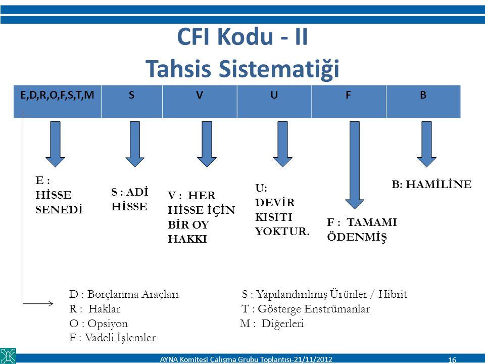 CFI Kodu - II Tahsis Sistematiği E,D,R,O,F,S,T,MSVUFB E : HİSSE SENEDİ S : ADİ HİSSE V : HER HİSSE İÇİN BİR OY HAKKI U: DEVİR KISITI YOKTUR. B: HAMİLİ
