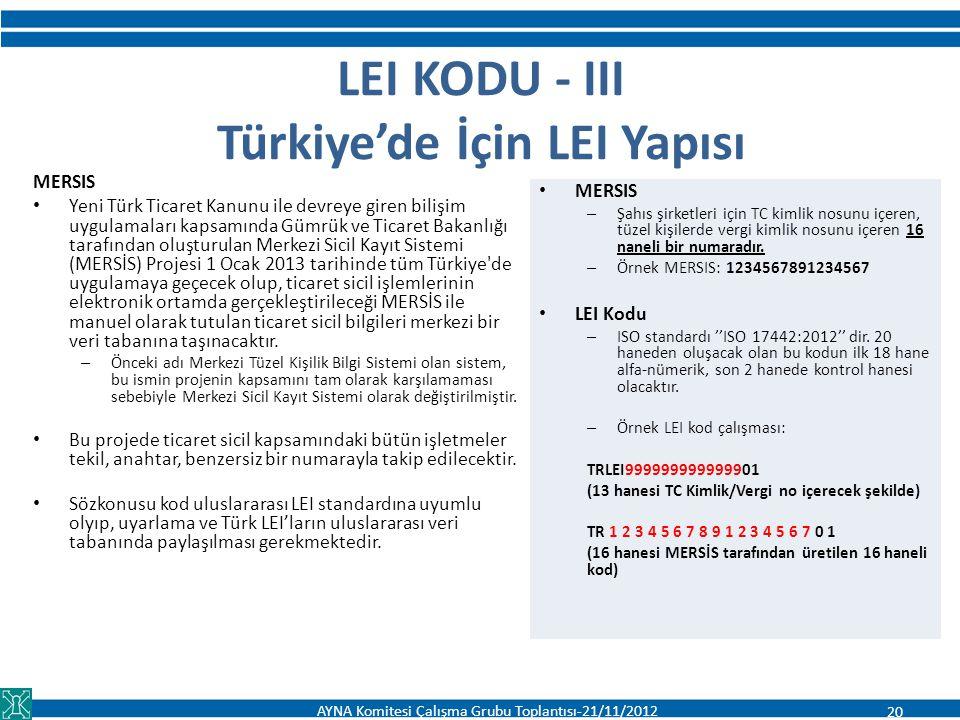 LEI KODU - III Türkiye'de İçin LEI Yapısı MERSIS – Şahıs şirketleri için TC kimlik nosunu içeren, tüzel kişilerde vergi kimlik nosunu içeren 16 naneli