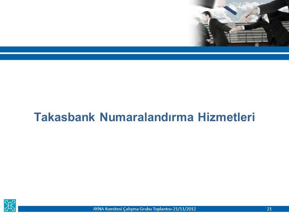 Takasbank Numaralandırma Hizmetleri AYNA Komitesi Çalışma Grubu Toplantısı-21/11/201221