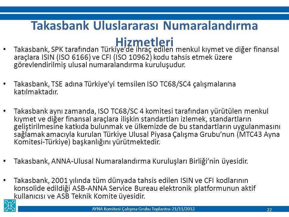 Takasbank, SPK tarafından Türkiye'de ihraç edilen menkul kıymet ve diğer finansal araçlara ISIN (ISO 6166) ve CFI (ISO 10962) kodu tahsis etmek üzere