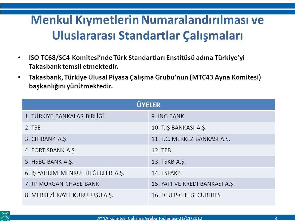 Menkul Kıymetlerin Numaralandırılması ve Uluslararası Standartlar Çalışmaları ISO TC68/SC4 Komitesi'nde Türk Standartları Enstitüsü adına Türkiye'yi T