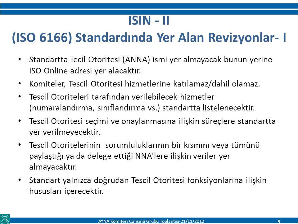 ISIN - II (ISO 6166) Standardında Yer Alan Revizyonlar- I Standartta Tecil Otoritesi (ANNA) ismi yer almayacak bunun yerine ISO Online adresi yer alac