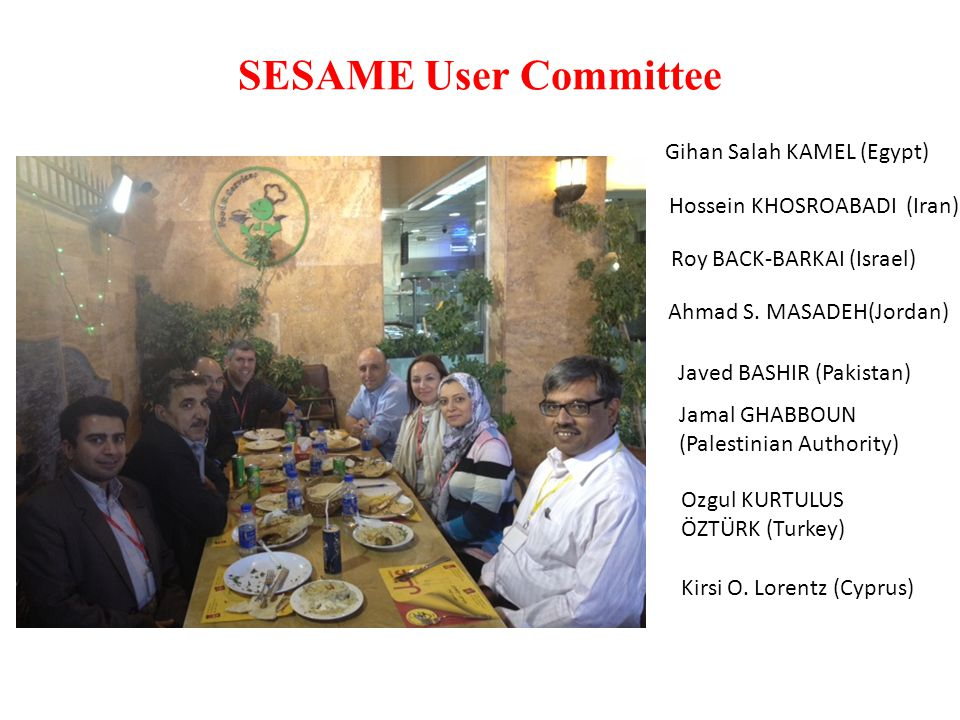 SESAME User Committee Composition of the committee (from Terms of Reference) The SUC shall consist of one member from each of the SESAME Members and two students, each from a different SESAME Member, appointed on a rotational basis in decreasing alphabetical order of the name of the SESAME Members starting by the letter A and back to the letter A after having reached the end of the alphabet.