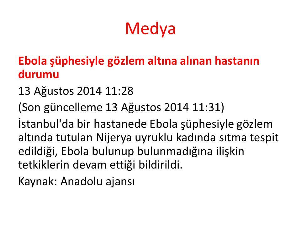 Medya Ebola şüphesiyle gözlem altına alınan hastanın durumu 13 Ağustos 2014 11:28 (Son güncelleme 13 Ağustos 2014 11:31) İstanbul'da bir hastanede Ebo