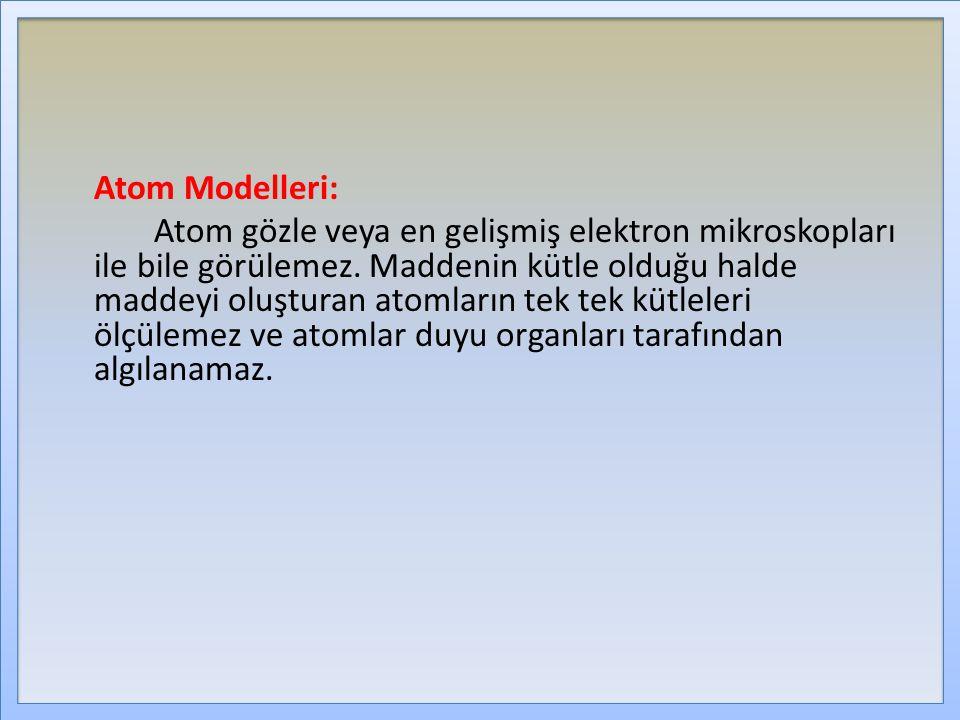 Atom Modelleri: Atom gözle veya en gelişmiş elektron mikroskopları ile bile görülemez. Maddenin kütle olduğu halde maddeyi oluşturan atomların tek tek