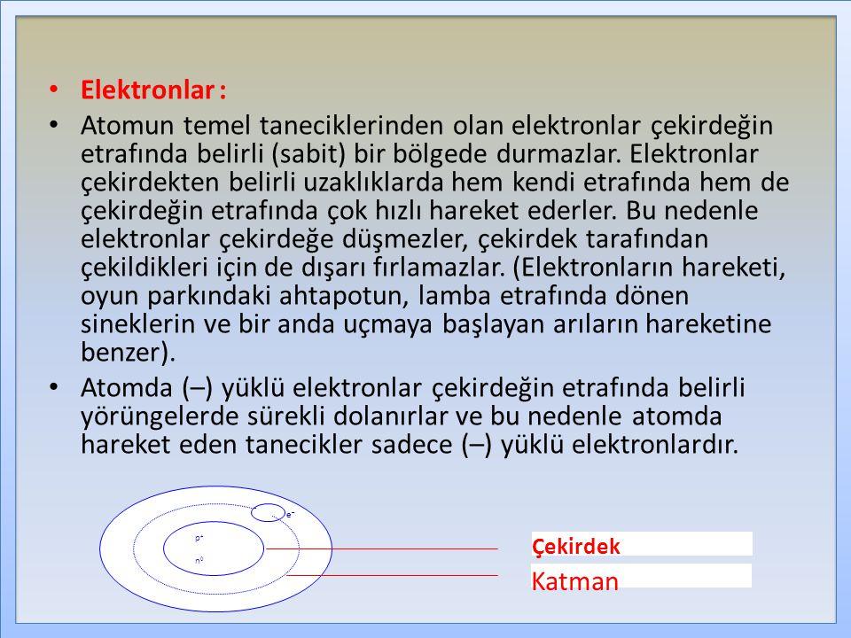 Elektronlar: Atomun temel taneciklerinden olan elektronlar çekirdeğin etrafında belirli (sabit) bir bölgede durmazlar. Elektronlar çekirdekten belirli