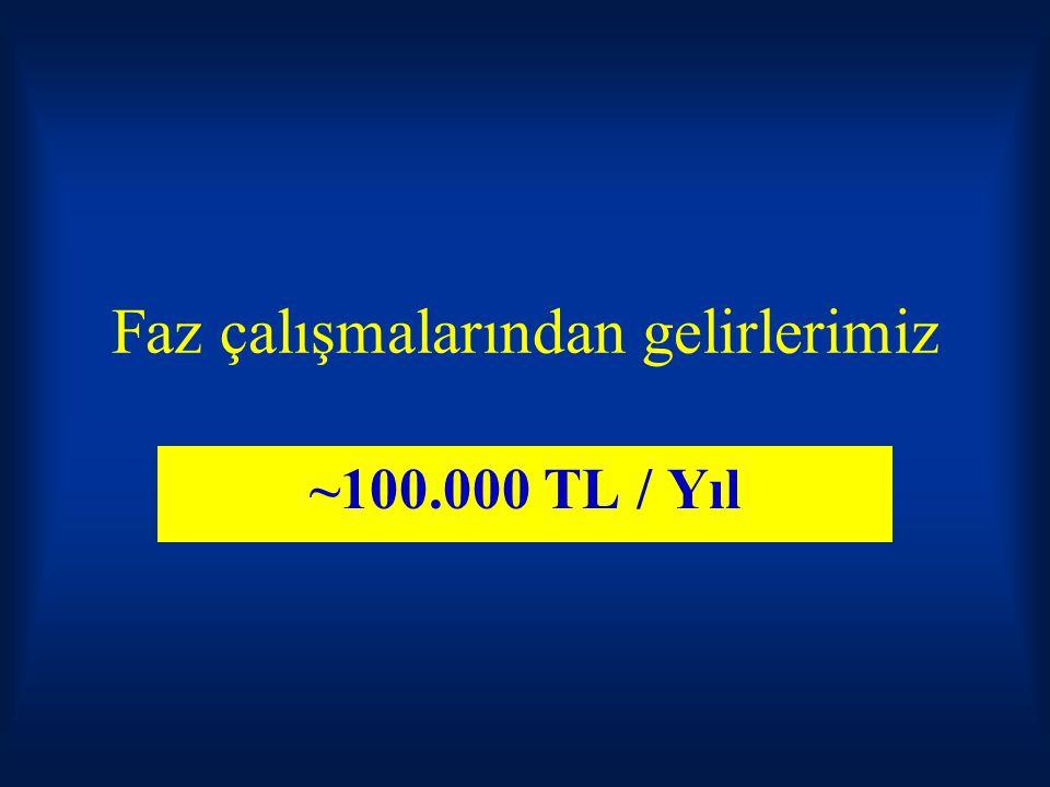 Faz çalışmalarından gelirlerimiz ~100.000 TL / Yıl