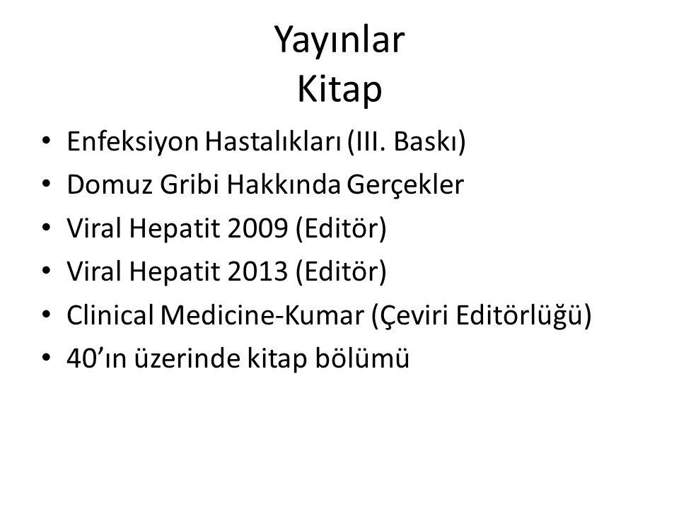 Yayınlar Kitap Enfeksiyon Hastalıkları (III. Baskı) Domuz Gribi Hakkında Gerçekler Viral Hepatit 2009 (Editör) Viral Hepatit 2013 (Editör) Clinical Me