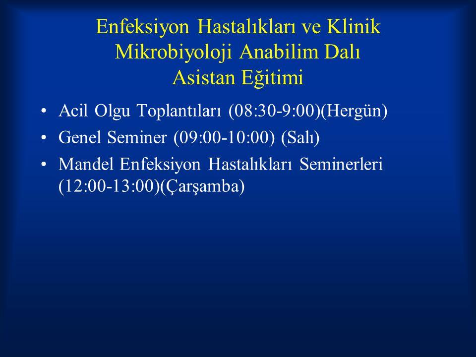 Enfeksiyon Hastalıkları ve Klinik Mikrobiyoloji Anabilim Dalı Asistan Eğitimi Acil Olgu Toplantıları (08:30-9:00)(Hergün) Genel Seminer (09:00-10:00)