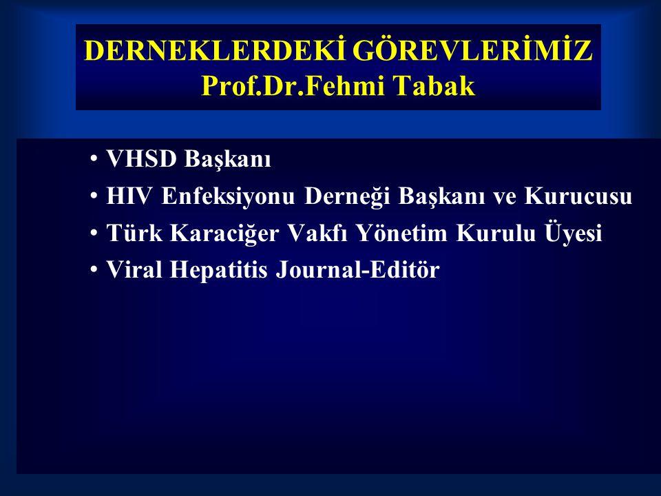 DERNEKLERDEKİ GÖREVLERİMİZ Prof.Dr.Fehmi Tabak VHSD Başkanı HIV Enfeksiyonu Derneği Başkanı ve Kurucusu Türk Karaciğer Vakfı Yönetim Kurulu Üyesi Vira