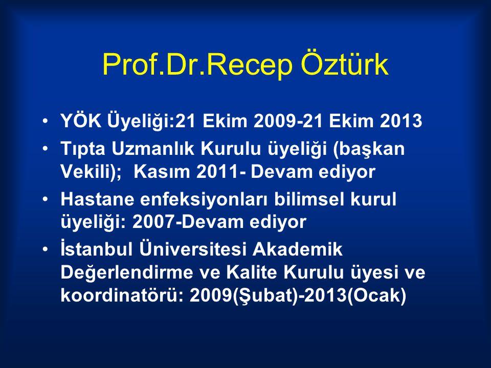Prof.Dr.Recep Öztürk YÖK Üyeliği:21 Ekim 2009-21 Ekim 2013 Tıpta Uzmanlık Kurulu üyeliği (başkan Vekili); Kasım 2011- Devam ediyor Hastane enfeksiyonl