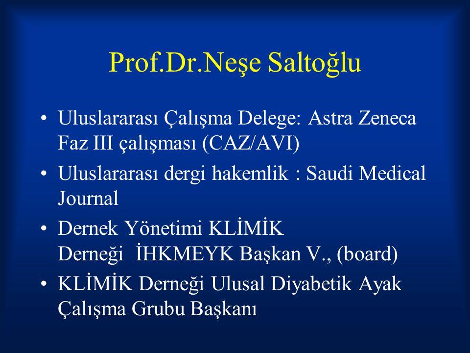 Prof.Dr.Neşe Saltoğlu Uluslararası Çalışma Delege: Astra Zeneca Faz III çalışması (CAZ/AVI) Uluslararası dergi hakemlik : Saudi Medical Journal Dernek
