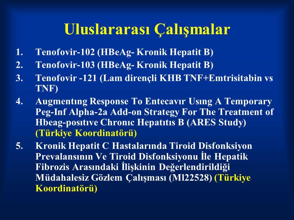 Uluslararası Çalışmalar 1.Tenofovir-102 (HBeAg- Kronik Hepatit B) 2.Tenofovir-103 (HBeAg- Kronik Hepatit B) 3.Tenofovir -121 (Lam dirençli KHB TNF+Emt
