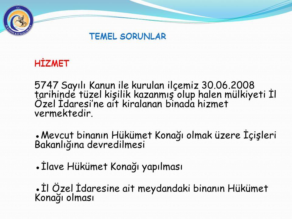HİZMET 5747 Sayılı Kanun ile kurulan ilçemiz 30.06.2008 tarihinde tüzel kişilik kazanmış olup halen mülkiyeti İl Özel İdaresi'ne ait kiralanan binada