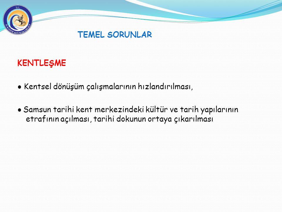 TEMEL SORUNLAR KENTLEŞME ● Kentsel dönüşüm çalışmalarının hızlandırılması, ● Samsun tarihi kent merkezindeki kültür ve tarih yapılarının etrafının açı