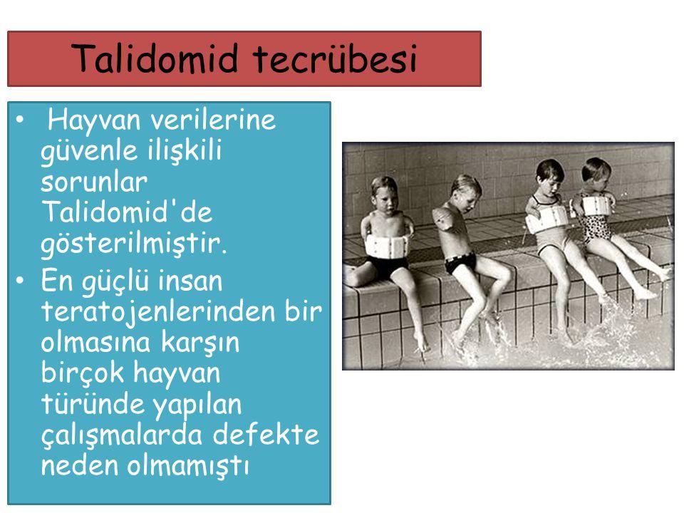 Talidomid tecrübesi Hayvan verilerine güvenle ilişkili sorunlar Talidomid'de gösterilmiştir. En güçlü insan teratojenlerinden bir olmasına karşın birç