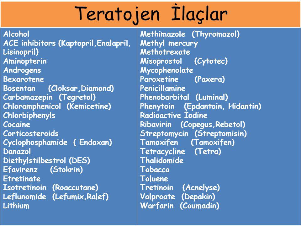Teratojen İlaçlar Alcohol ACE inhibitors (Kaptopril,Enalapril, Lisinopril) Aminopterin Androgens Bexarotene Bosentan (Cloksar,Diamond) Carbamazepin (T