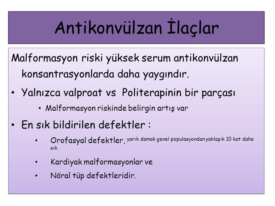 Antikonvülzan İlaçlar Malformasyon riski yüksek serum antikonvülzan konsantrasyonlarda daha yaygındır. Yalnızca valproat vs Politerapinin bir parçası
