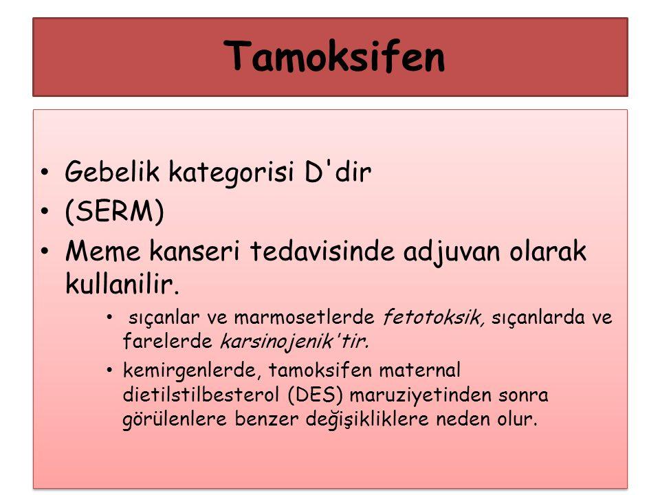 Tamoksifen Gebelik kategorisi D'dir (SERM) Meme kanseri tedavisinde adjuvan olarak kullanilir. sıçanlar ve marmosetlerde fetotoksik, sıçanlarda ve far