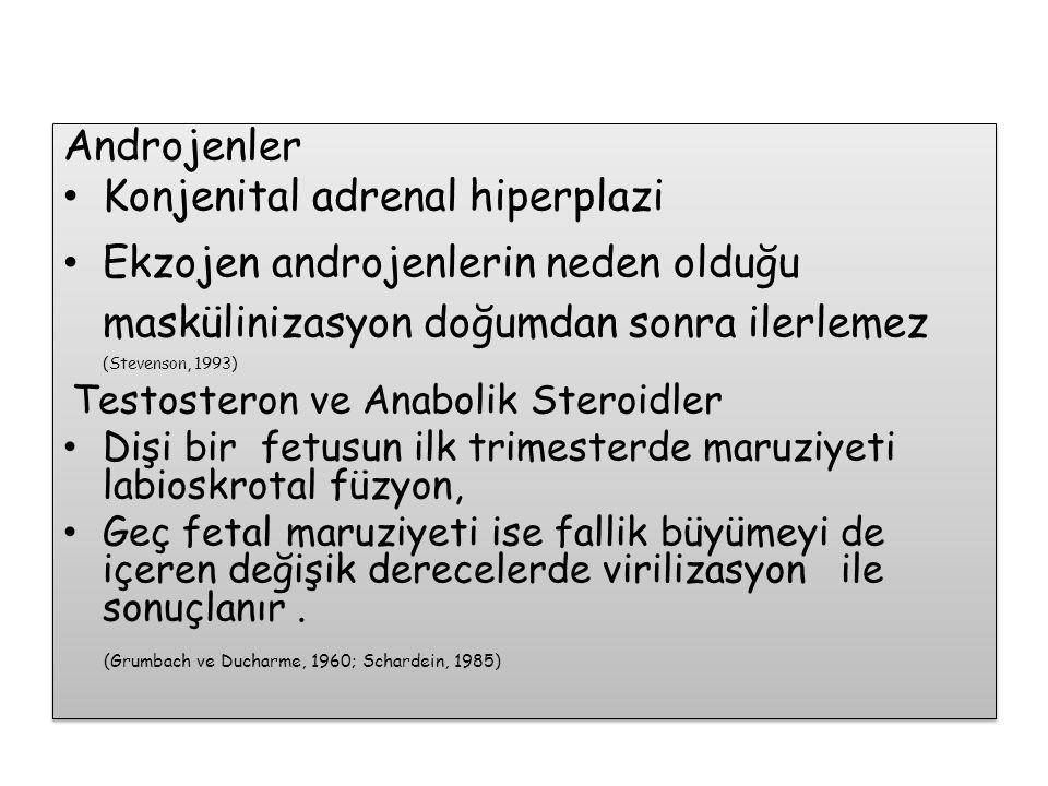 Androjenler Konjenital adrenal hiperplazi Ekzojen androjenlerin neden olduğu maskülinizasyon doğumdan sonra ilerlemez (Stevenson, 1993) Testosteron ve