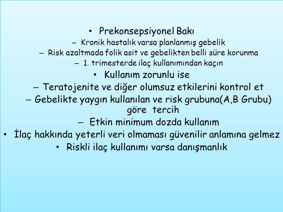Prekonsepsiyonel Bakı – Kronik hastalık varsa planlanmış gebelik – Risk azaltmada folik asit ve gebelikten belli süre korunma – 1. trimesterde ilaç ku
