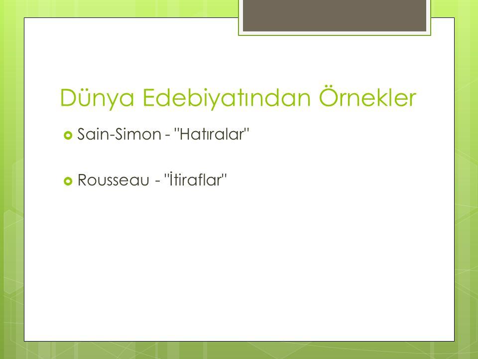 Dünya Edebiyatından Örnekler  Sain-Simon -