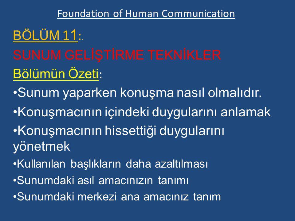 Foundation of Human Communication BÖLÜM 1 1 :. SUNUM GELİŞTİRME TEKNİKLER Bölümün Özeti : Sunum yaparken konuşma nasıl olmalıdır. Konuşmacının içindek