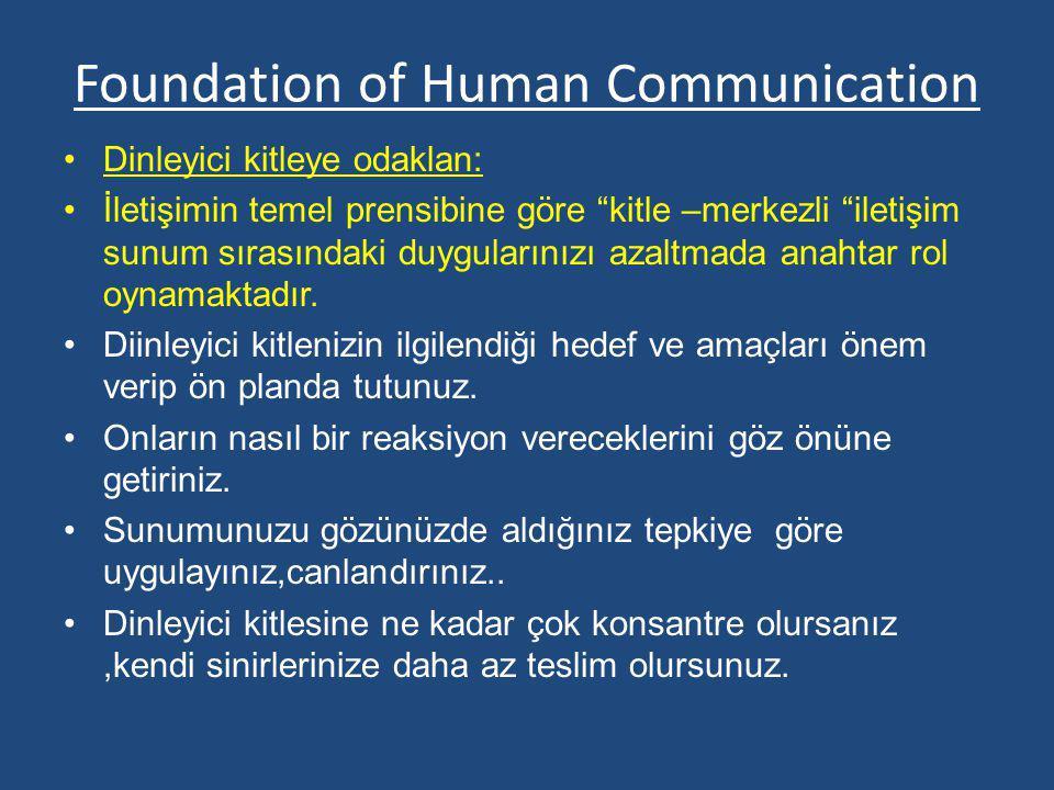 """Foundation of Human Communication Dinleyici kitleye odaklan: İletişimin temel prensibine göre """"kitle –merkezli """"iletişim sunum sırasındaki duygularını"""