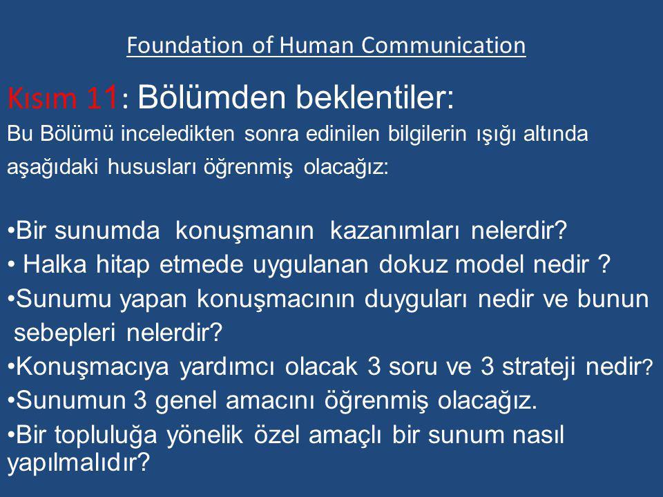 Foundation of Human Communication Kısım 1 1 : Bölümden beklentiler: Bu Bölümü inceledikten sonra edinilen bilgilerin ışığı altında aşağıdaki hususları