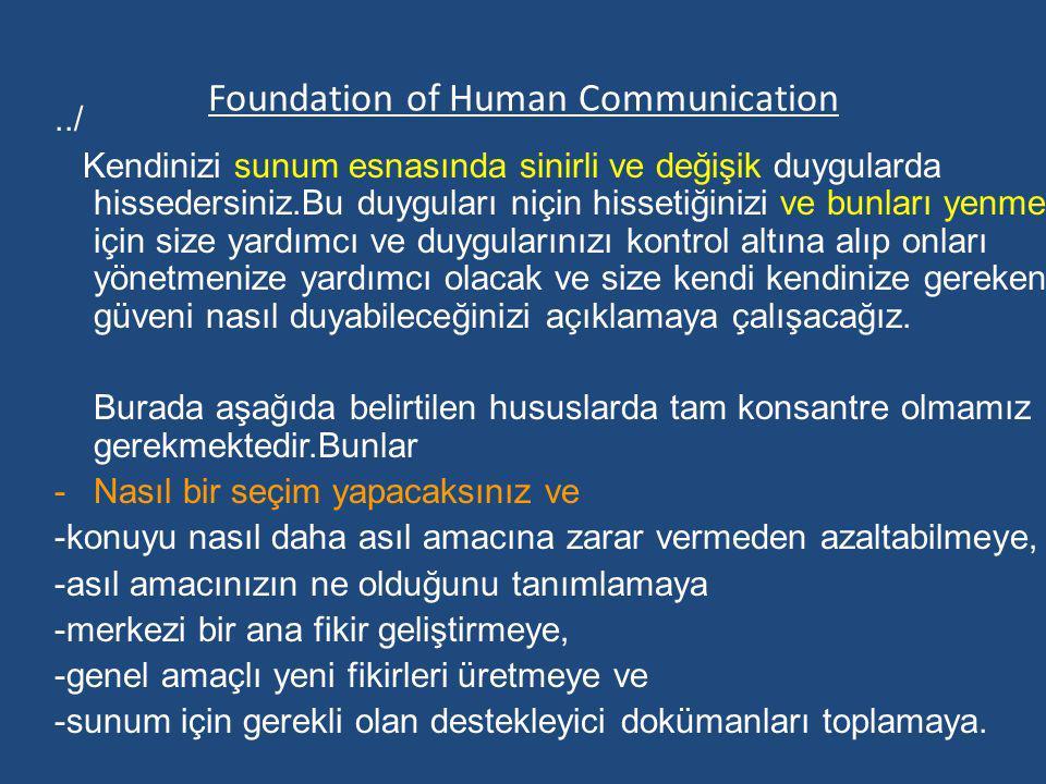 Foundation of Human Communication../ Kendinizi sunum esnasında sinirli ve değişik duygularda hissedersiniz.Bu duyguları niçin hissetiğinizi ve bunları