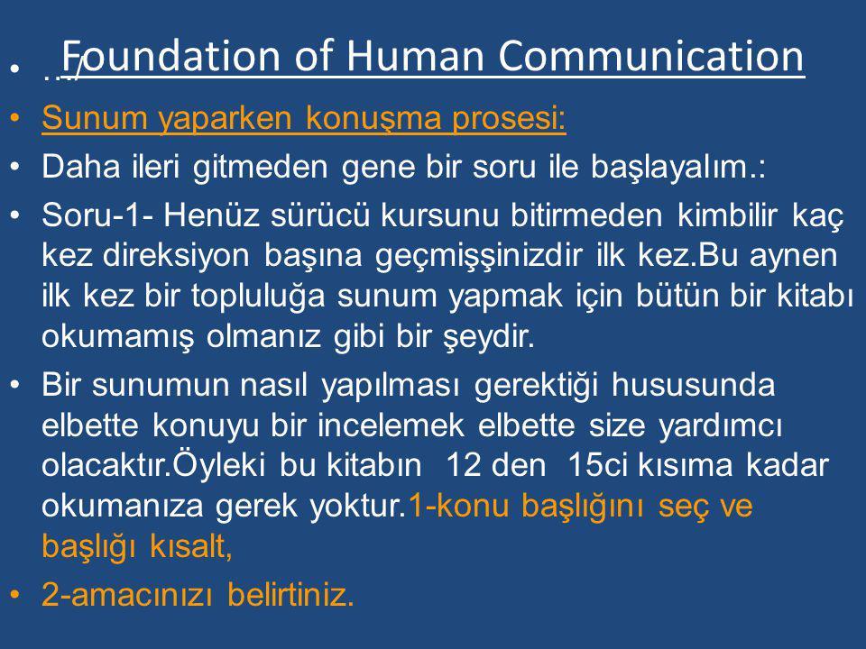 Foundation of Human Communication …/ Sunum yaparken konuşma prosesi: Daha ileri gitmeden gene bir soru ile başlayalım.: Soru-1- Henüz sürücü kursunu b