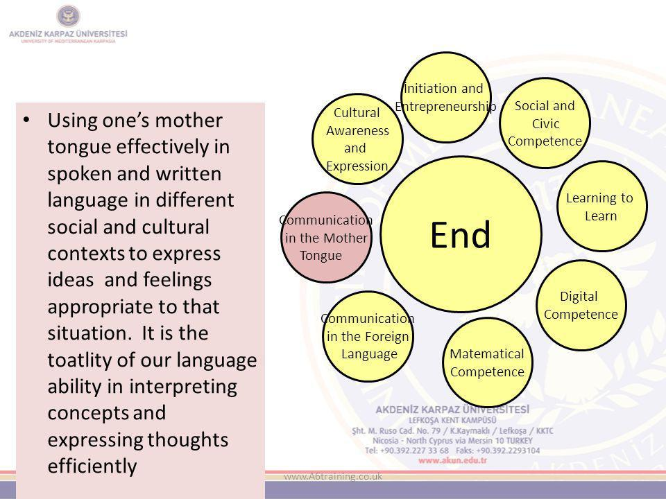 www.A6training.co.uk Using one's mother tongue effectively in spoken and written language in different social and cultural contexts to express ideas and feelings appropriate to that situation.