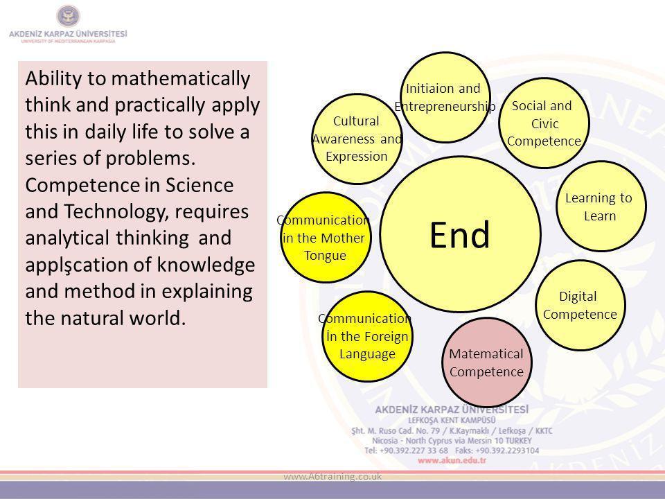 www.A6training.co.uk To be better at thinking analytically and problem solving … Ana Dilde İletişim Yabancı Dilde İletişim Matematiksel Yetkinlikler Digital Yetkinlikler Öğrenmeyi Öğrenme Sosyal ve Toplumsal Yetkinlikler İnisiyatif ve Girişimcilik Kültürel Farkındalık Ve İfade KAZANMA EŞİĞİ
