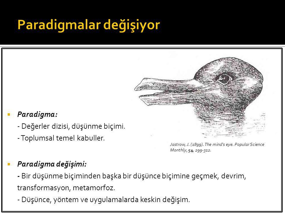  Paradigma: - Değerler dizisi, düşünme biçimi. - Toplumsal temel kabuller.