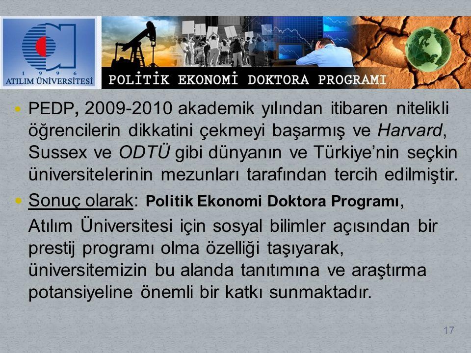 PEDP, 2009-2010 akademik yılından itibaren nitelikli öğrencilerin dikkatini çekmeyi başarmış ve Harvard, Sussex ve ODTÜ gibi dünyanın ve Türkiye'nin seçkin üniversitelerinin mezunları tarafından tercih edilmiştir.